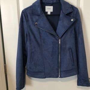 Blue faux suede Moto jacket! NWOT!